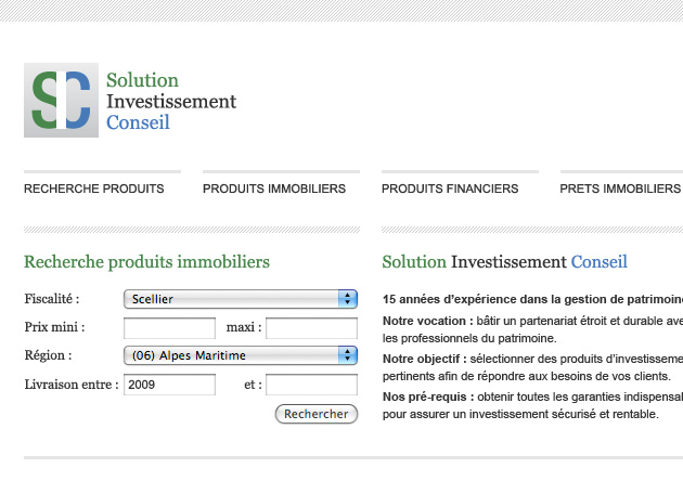 Design site web investissement immobilier